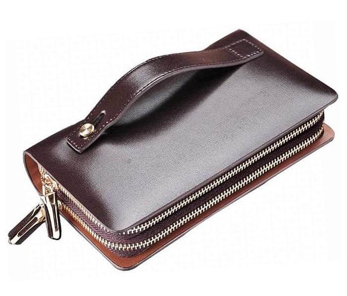 Teemzone Men's Genuine Leather Business Clutch Wrist Bag Handbag Organizer Card Cash Holder