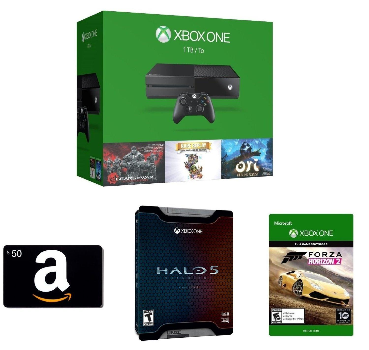 $369.00 Xbox One 1TB Console - 3 Games Holiday Bundle + Amazon.com $50 Gift Card (Physical Card) + Forza Horizon 2
