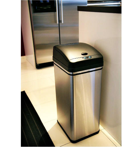 Lightning deal-iTouchless Deodorizer Touch-Free Sensor 13-Gallon Automatic Stainless-Steel Trash Can