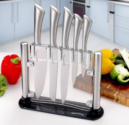 Premium Class Stainless-Steel Kitchen 6 Knife-Set with Acrylic Stand By Utopia Kitchen