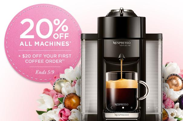 Sale!nespresso 20% off all Machines