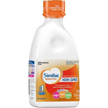 43.68 Similac Sensitive OptiGRO Non-GMO Milk-Based Ready to Feed Infant Formula, 1 qt, (Pack of 6)