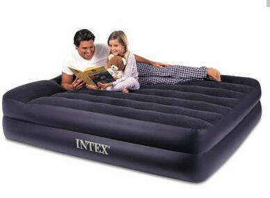 Intex Pillow Rest Raised Airbed with Built-in Pillow and Electric Pump, Queen, Bed Height 16 1/2