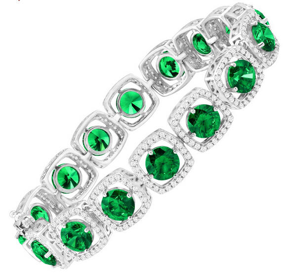 41 ct Green & White Swarovski Zirconia Tennis Bracelet