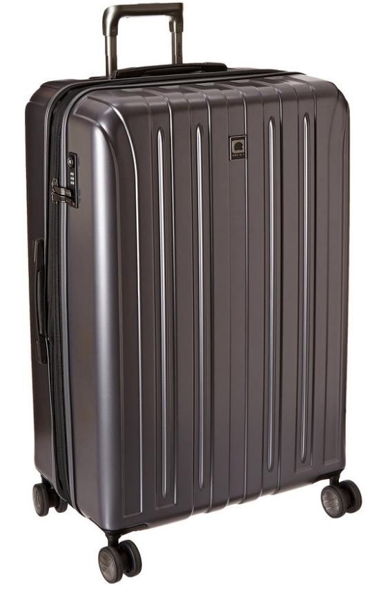 $106.99 Delsey Luggage Helium Titanium 29 Inch EXP Spinner Trolley Metallic