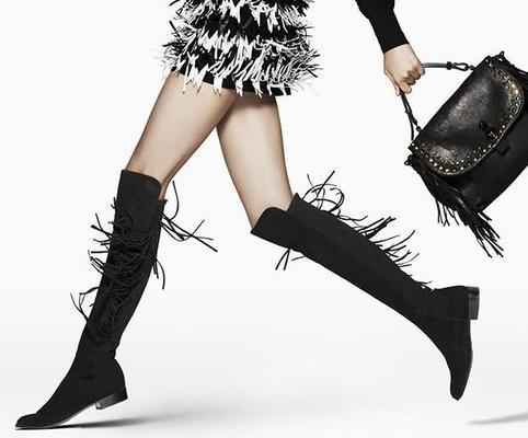 $314 Stuart Weitzman Mane Fringe Over-the-Knee Suede Boot