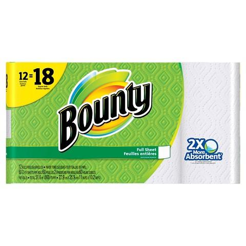 $25.18 2 x Bounty Paper Towels 12 Giant Rolls + $5 Target Gift Card