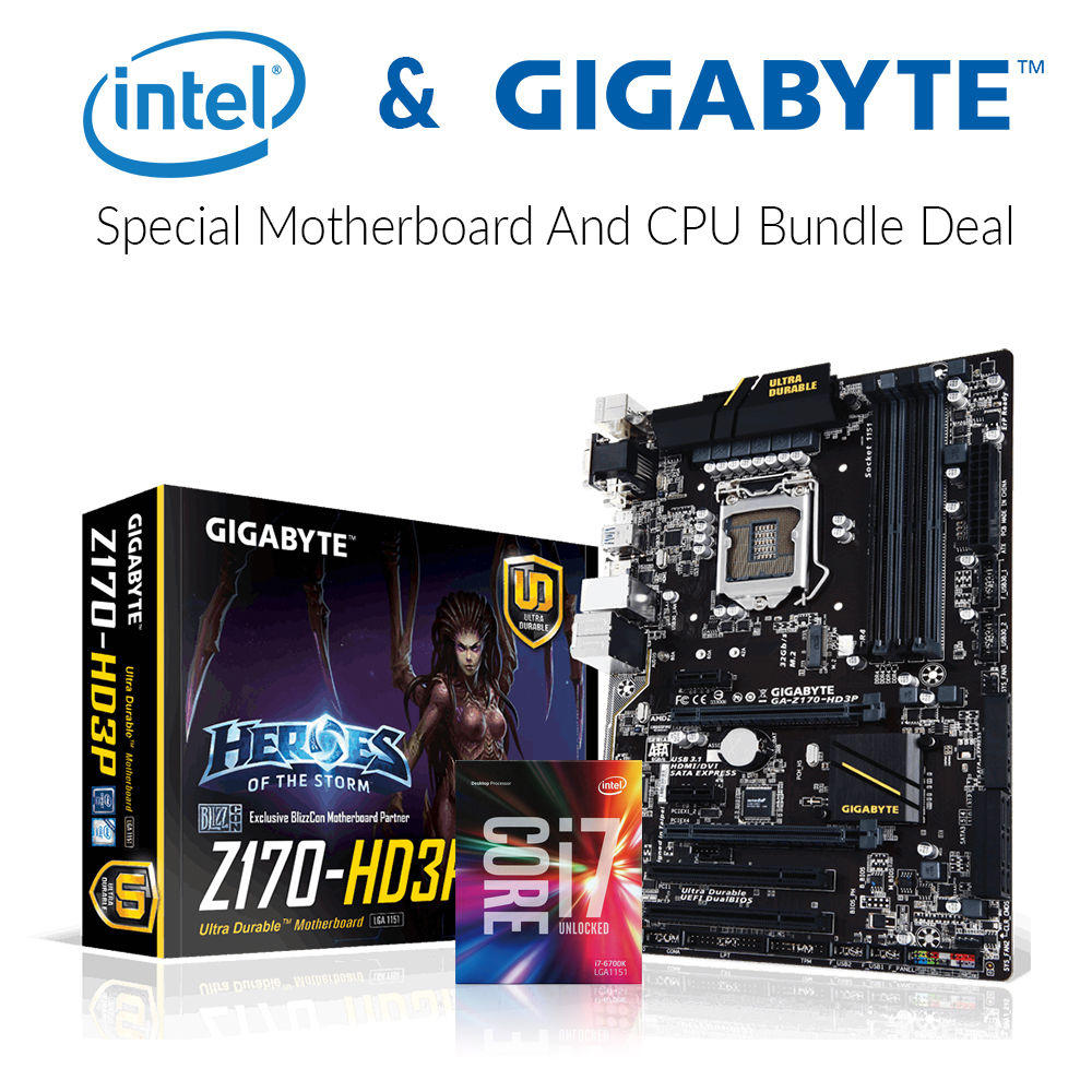 Gigabyte GA-Z170-HD3P Motherboard + Intel BX80662I76700K Processor Bundle