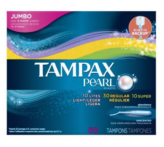 $5.97 Tampax Pearl Plastic Triple Pack, Light/Regular/Super Absorbency, Unscented Tampons, 50 Count