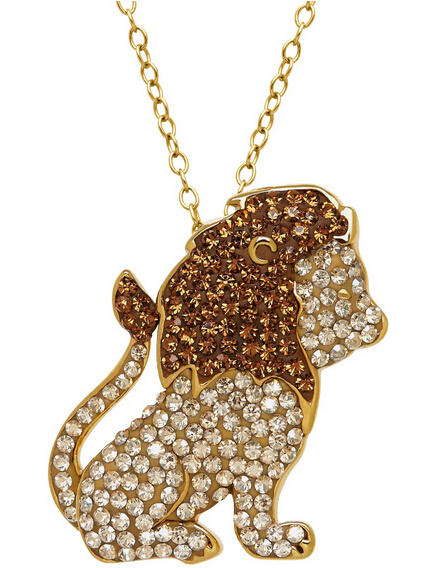 Lion Pendant with Swarovski Crystals