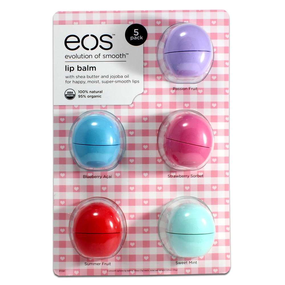 Eos Evolution Of Smooth Lip Balm, Passion Fruit, Blueberry Acai, Strawberry Sorbet, Sumer Fruit, & Sweet Mint, 5