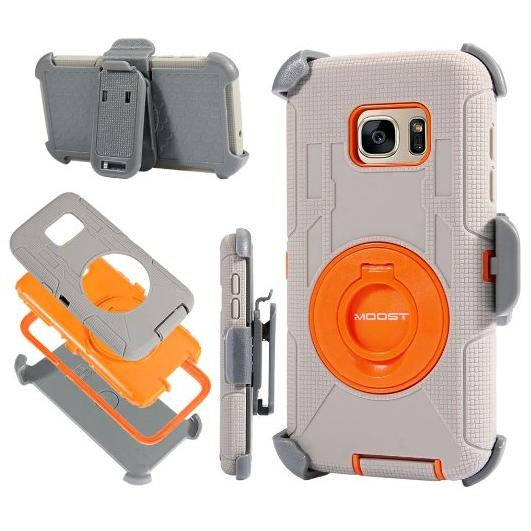$7.99 MOOST Heavy Duty Hybrid Shockproof Case With Kickstand and Belt Clip Holster for Samsung Galaxy S7 (Gray / Orange)