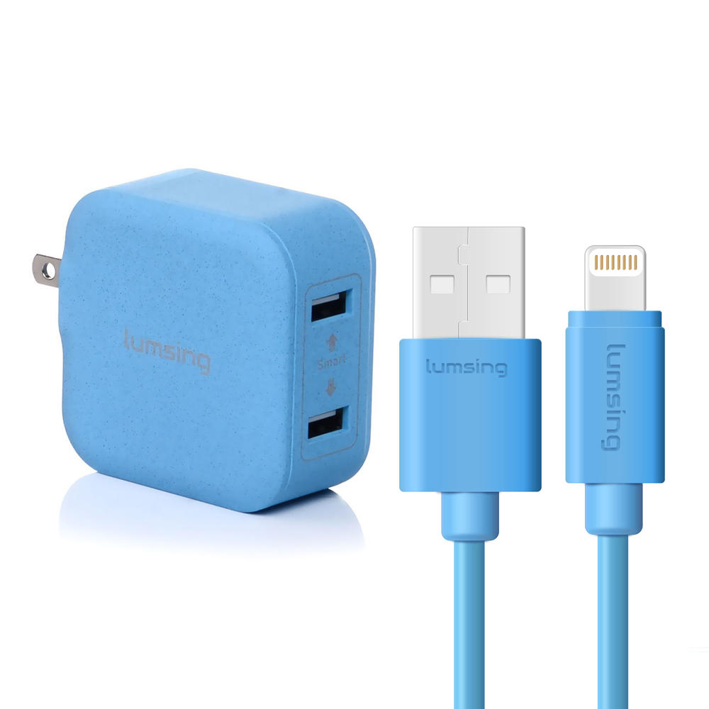 $8.99 Lumsing USB Cable 1M Blue Only (Apple Certified) and 2 Ports Charger (Any Color)