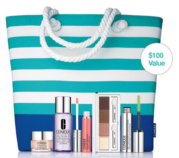 Receive the Limited Edition Summer In Clinique Set($100 Value ) for $34.50 with any purchase
