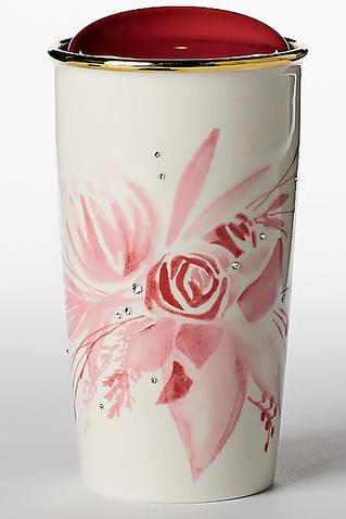 Pink Bouquet Ceramic Traveler adorned with Swarovski crystals , 12 fl oz