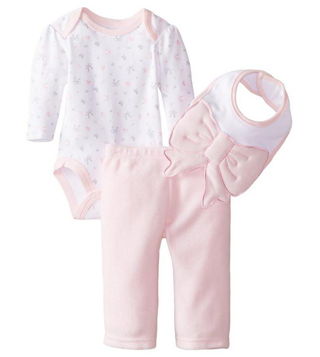 $10.41 BON BEBE Baby Girls' 3 Piece Set with, Bodysuit, Pant and 3D Bib