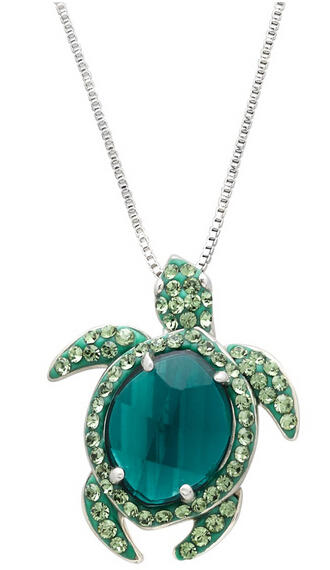 Turtle Pendant with Swarovski Crystals