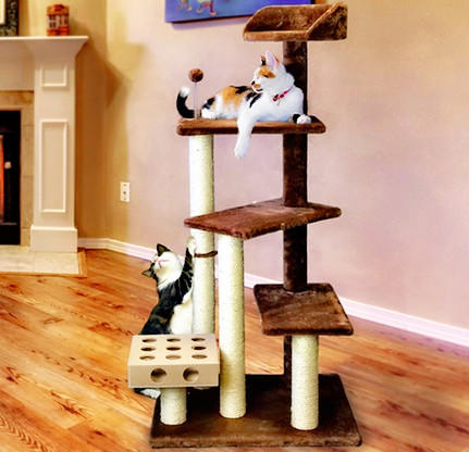 From $28.04 Lightning deal! Furhaven Pet Tiger Tough Deluxe Cat Tree Tower Play Stairs Multi-Level Playground Perch