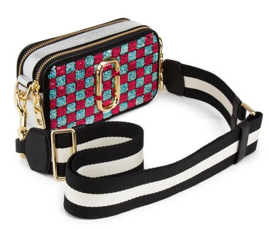 $667+ Free Shipping Marc Jacobs Women's Snapshot Sequins Checker Small Camera Bag