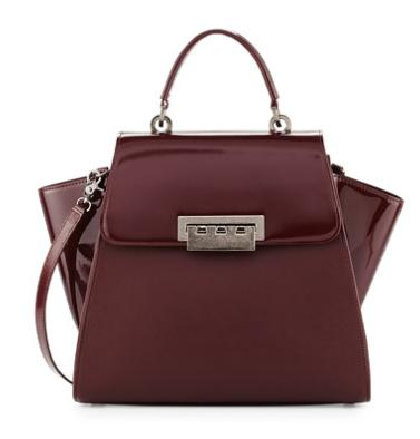 ZAC Zac Posen Eartha Patent-Leather Satchel Bag, Vino