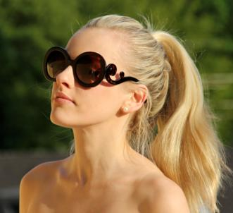 Prada 'Baroque' 55mm Round Sunglasses @ Groupon