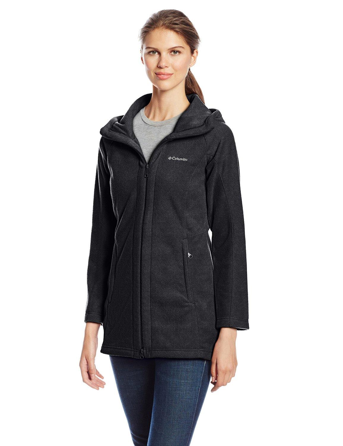 Columbia Women's Benton Springs II Long Hooded Jacket, Charcoal Heather, S