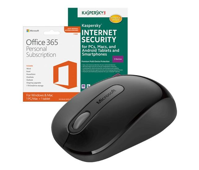 $49.99 Microsoft Office 365 Personal, Kaspersky Internet Security 2016 & Wireless Mouse Package