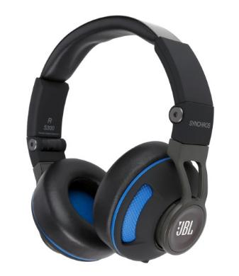 JBL Synchros S300 Premium On-Ear Headphones with built-in remote/Microphone - Black/Blue