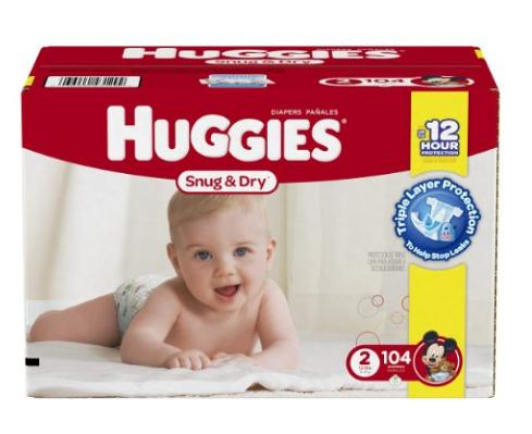 Huggies Snug and Dry Diapers, Size 2, 104 Count