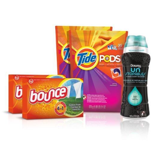 Tide Amazing Laundry Bundle (68 Loads): Tide PODS, Bounce Sheets and Downy Unstopables