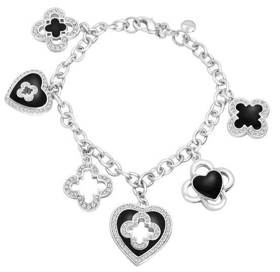 Marie Claire Clover Charm Bracelet with Swarovski Crystals