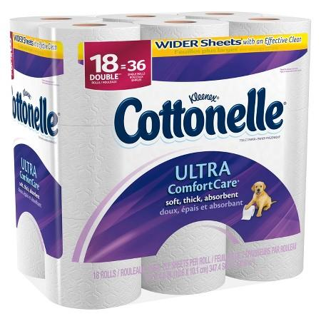 $15.98 + Free $5 Target GC Cottonelle Ultra Comfort Care Double Roll Toilet Paper, 18 Double Rolls x 2