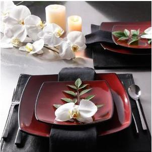 $29.99 Gibson Soho Lounge Square 16-Piece Dinnerware Set, Red, Service for 4