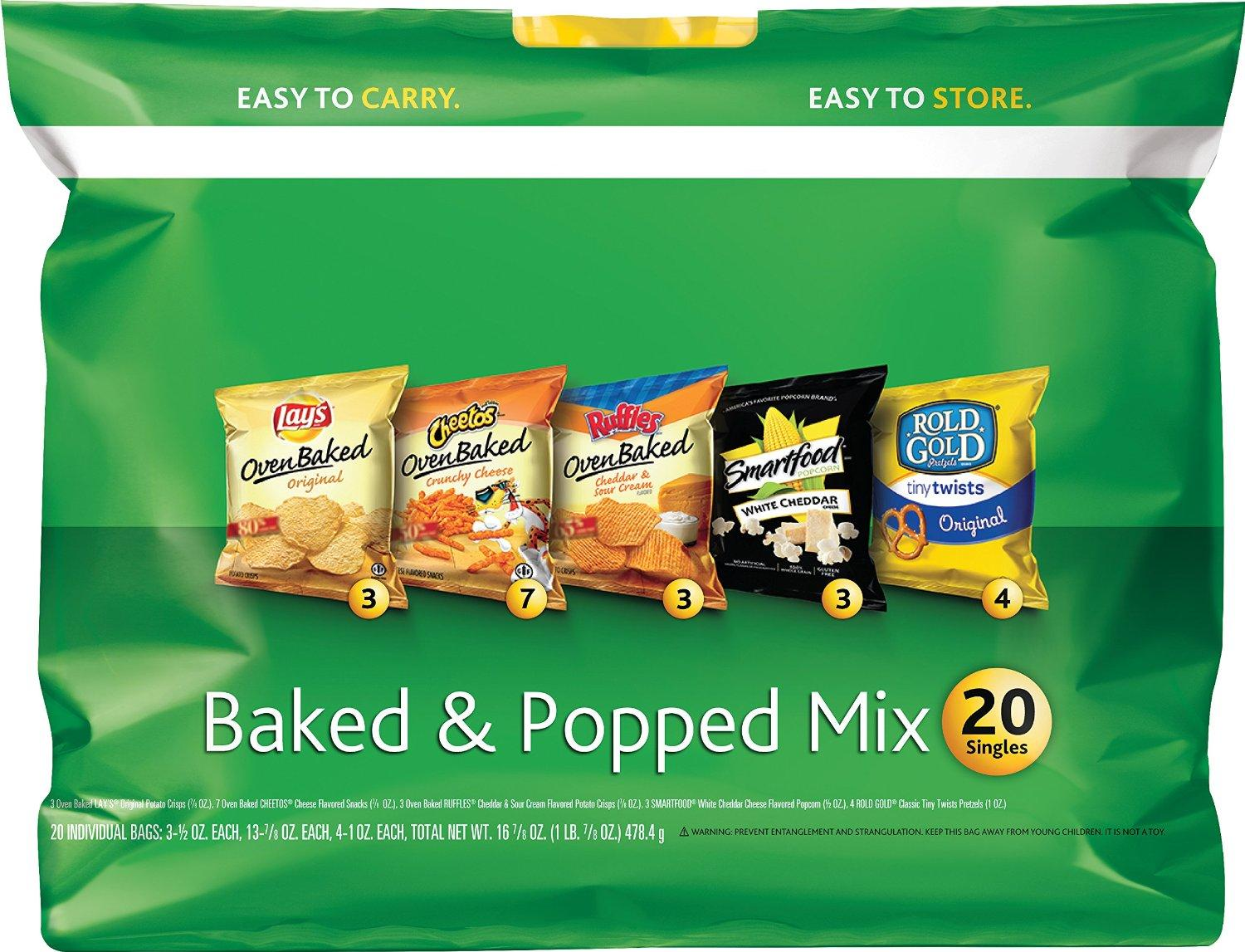$4.32 Frito-Lay Baked and Popped Mix Variety Pack, 20-Count