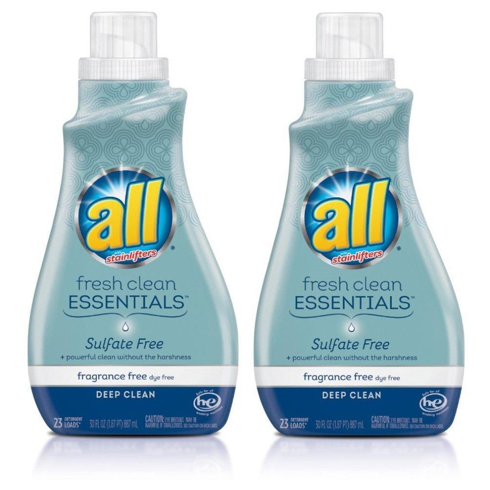 All Fresh Clean ESSENTIALS Sulfate Free Laundry Detergent, 2 Count