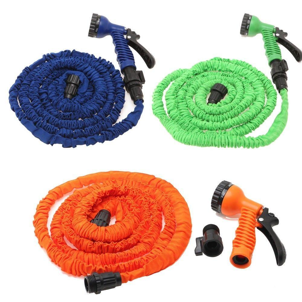 $14.99 Multi-color 100FT Expandable Flexible Garden Water Hose With Spray Nozzle Head