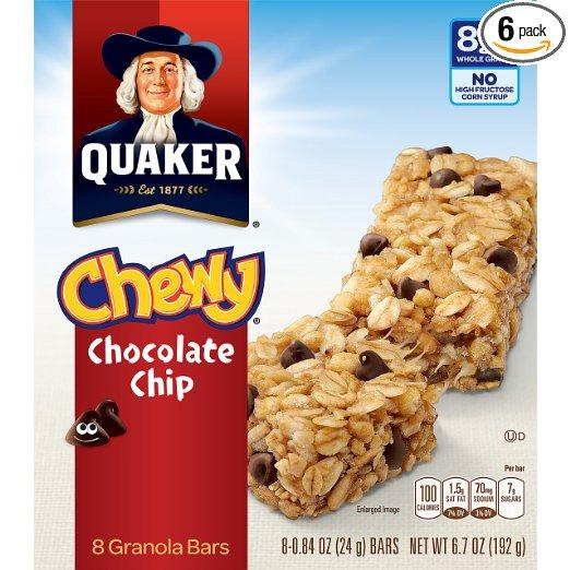 Quaker Chewy Granola Bars,  25% Less Sugar, Chocolate Chip, 8 Bars Per Box (Pack of 6)