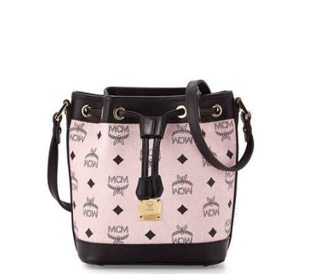 MCM Heritage Drawstring Mini Bucket Bag, Chalk Pink @ Neiman Marcus