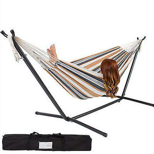 $54.95 Double Hammock with Space Saving Steel Stand Includes Portable Carrying Case