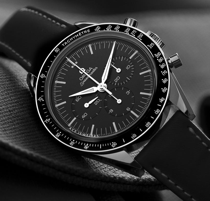 $3145 Omega Speedmaster Chronograph Black Dial Black Leather Men's Watch 311.33.42.30.01.001