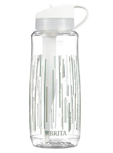 Brita Hard Sided Water Filter Bottle, Clear Lines, 34 Ounce