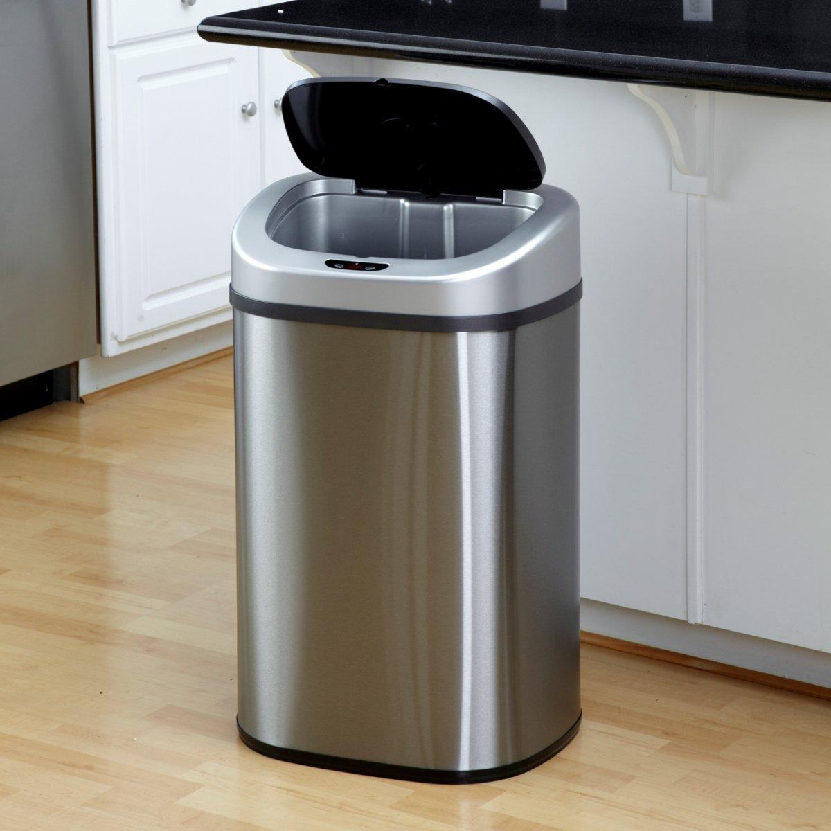 $34.99 13-Gallon Touch-Free Sensor Automatic Stainless-Steel Trash Can Kitchen