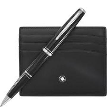 $199.99 MONTBLANC Meisterstuck Platinum Rollerball and Pocket Holder Set