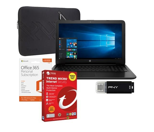 HP 15-ac143dx Laptop, Microsoft Office 365, Internet Security Software, Sleeve & Flash Drive Package