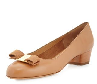 Salvatore Ferragamo Vara Leather Bow Pump, Sienne