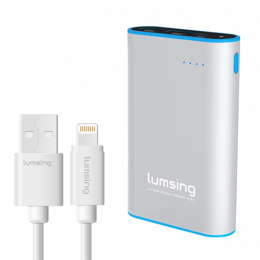 $13.99 Lumsing Portable Charger 10050mAh/Lumsing Lightning to USB Cable Apple Certified Sync and Charging Cord(3.3 Feet/1M)