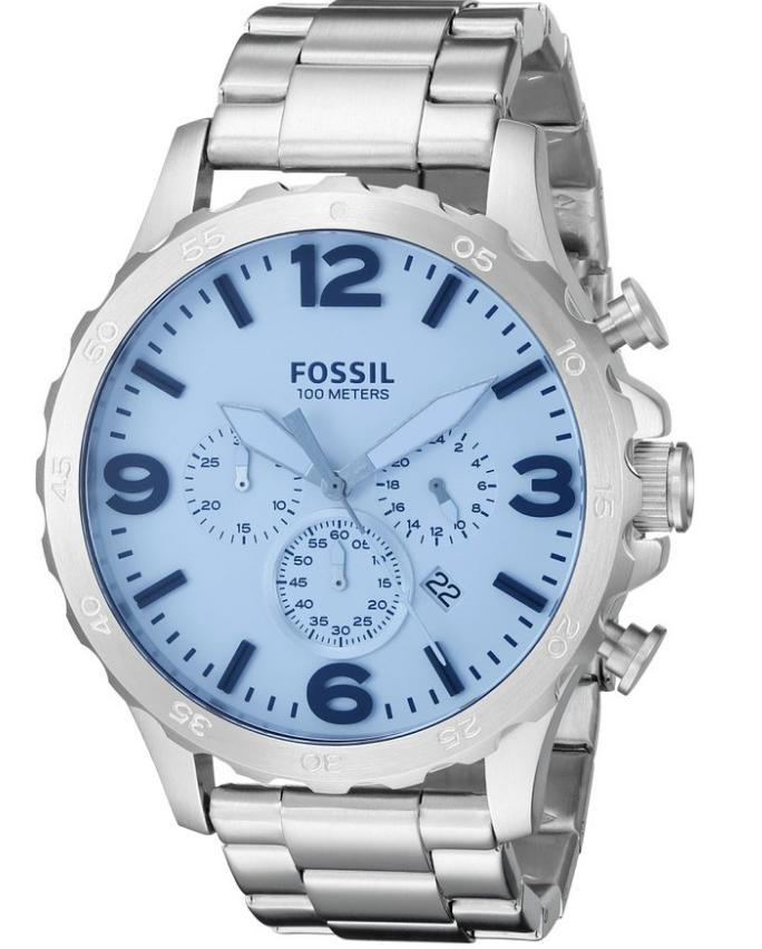 Fossil Nate Chronograph Crystal Stainless Steel Watch