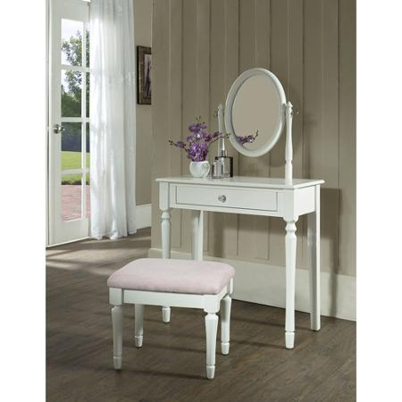 $113.65 Princess Vanity Set with Mirror and Bench, White