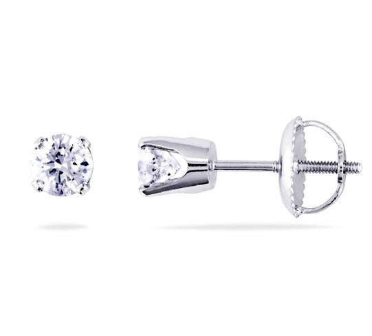 AMOUR Diamond Solitaire Earrings in 14 Karat White Gold, .50 CTW