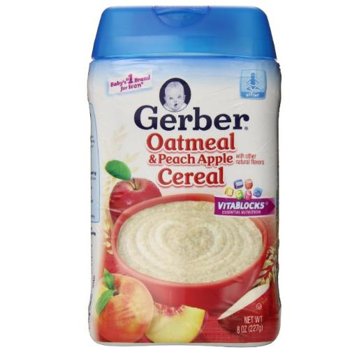 $2.82 Gerber Oatmeal and Peach Apple Baby Cereal, 8 Ounce (Pack of 6)